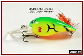 "Akuna Little Chubby 3"" Crankbait Fishing Lure in Green Monster [BP 133-98]"