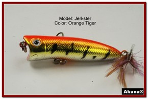 "Akuna Jerkster 2.2"" Topwater Popper Fishing Lure in Orange Tiger [BP 147-78]"