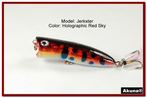 "Akuna Jerkster 2.2"" Topwater Popper Fishing Lure in Red Sky [BP 147-81]"