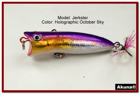 "Akuna Jerkster 2.2"" Topwater Popper Fishing Lure in October Sky [BP 147-82]"