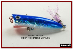 "Akuna Jerkster 2.2"" Topwater Popper Fishing Lure in Sky Light [BP 147-83]"