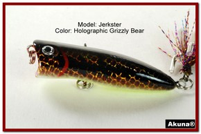 "Akuna Jerkster 2.2"" Topwater Popper Fishing Lure in Grizzly Bear [BP 147-88]"