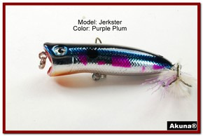 "Akuna Jerkster 2.2"" Topwater Popper Fishing Lure in Purple Plum [BP 147-89]"