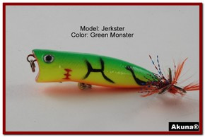 "Akuna Jerkster 2.2"" Topwater Popper Fishing Lure in Green Monster [BP 147-98]"