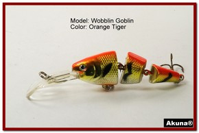 Akuna Wobblin Goblin 3.5 Jointed  Fishing Lure in color Orange Tiger [BP 20-78]