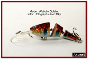 Akuna Wobblin Goblin 3.5 Jointed  Fishing Lure in color Red Sky [BP 20-81]