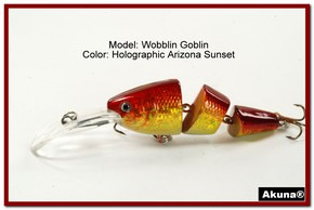 Akuna Wobblin Goblin 3.5 Jointed  Fishing Lure in color AZ Sunset [BP 20-84]