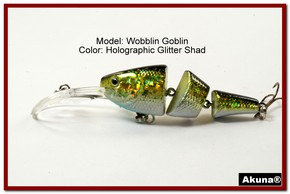 Akuna Wobblin Goblin 3.5 Jointed  Fishing Lure in color Glitter Shad [BP 20-85]