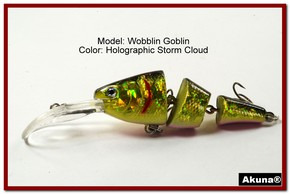 "Akuna Wobblin Goblin 3.5"" Jointed  Fishing Lure in color Storm Cloud [BP 20-86]"