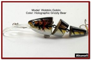 Akuna Wobblin Goblin 3.5 Jointed  Fishing Lure in color Grizzly Bear [BP 20-88]