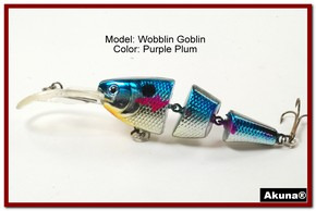Akuna Wobblin Goblin 3.5 Jointed  Fishing Lure in color Purple Plum [BP 20-89]