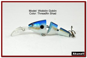 "Akuna Wobblin Goblin 3.5"" Jointed  Fishing Lure in color Threadfin Shad [BP 20-91]"