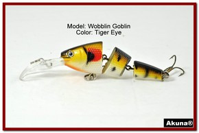 Akuna Wobblin Goblin 3.5 Jointed  Fishing Lure in color Tiger Eye [BP 20-94]