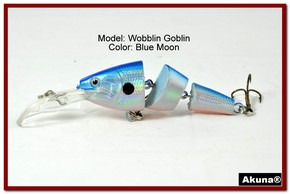 "Akuna Wobblin Goblin 3.5"" Jointed  Fishing Lure in color Blue Moon [BP 20-95]"