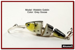 Akuna Wobblin Goblin 3.5 Jointed  Fishing Lure in color Grey Goose [BP 20-96]