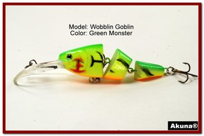 Akuna Wobblin Goblin 3.5 Jointed  Fishing Lure in color Green Monster [BP 20-98]