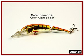 "Akuna Broken Tail 3.9"" Topwater Jointed Fishing Lure in color ""Orange Tiger"" [BP 23-78]"