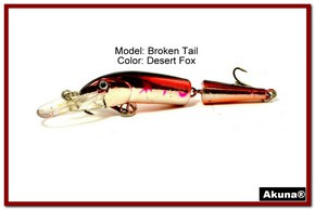 "Akuna Broken Tail 3.9"" Topwater Jointed Fishing Lure in color ""Desert Fox"" [BP 23-79]"