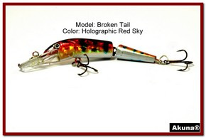 "Akuna Broken Tail 3.9"" Topwater Jointed Fishing Lure in color ""Holographic Red Sky"" [BP 23-81]"