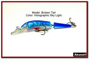 "Akuna Broken Tail 3.9"" Topwater Jointed Fishing Lure in color ""Holographic Sky Light"" [BP 23-83]"