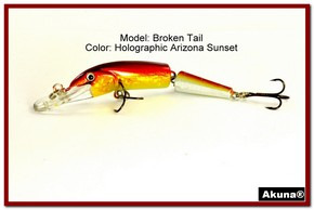 "Akuna Broken Tail 3.9"" Topwater Jointed Fishing Lure in color ""Holographic Blaze"" [BP 23-84]"