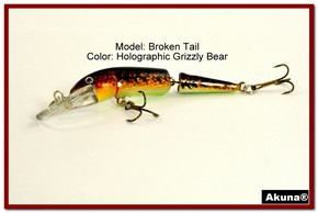 "Akuna Broken Tail 3.9"" Topwater Jointed Fishing Lure in color ""Holographic Grizzly Bear"" [BP 23-88]"