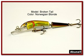 "Akuna Broken Tail 3.9"" Topwater Jointed Fishing Lure in color ""Norwegian Blonde"" [BP 23-92]"