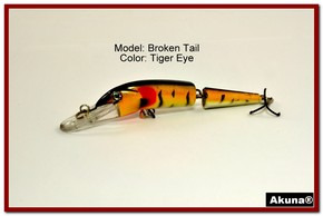"Akuna Broken Tail 3.9"" Topwater Jointed Fishing Lure in color ""Tiger Eye"" [BP 23-94]"