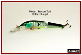 "Akuna Broken Tail 3.9"" Topwater Jointed Fishing Lure in color ""Bluegill"" [BP 23-97]"