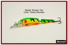 "Akuna Broken Tail 3.9"" Topwater Jointed Fishing Lure in color ""Green Monster"" [BP 23-98]"