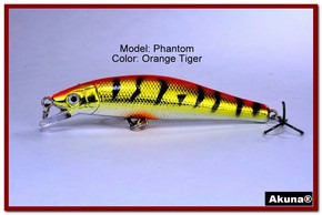 "Akuna Phantom  3.5 inch Shallow Diving Lure in color ""Orange Tiger"" [BP 32-78]"
