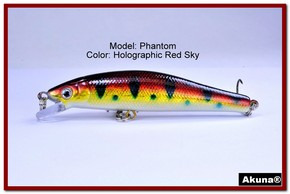 "Akuna Phantom  3.5 inch Shallow Diving Lure in color ""Holographic Red Sky"" [BP 32-81]"