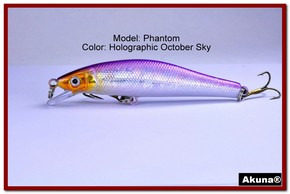 "Akuna Phantom  3.5 inch Shallow Diving Lure in color ""Holographic October Sky"" [BP 32-82]"
