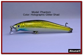 "Akuna Phantom  3.5 inch Shallow Diving Lure in color ""Holographic Glitter Shad"" [BP 32-85]"