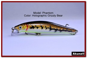 "Akuna Phantom  3.5 inch Shallow Diving Lure in color ""Holographic Grizzly Bear"" [BP 32-88]"
