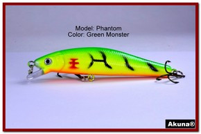 "Akuna Phantom  3.5 inch Shallow Diving Lure in color ""Green Monster"" [BP 32-98]"