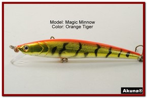 "Akuna Magic Minnow 4.3"" Topwater Fishing Lure in color Orange Tiger [BP 34-78]"