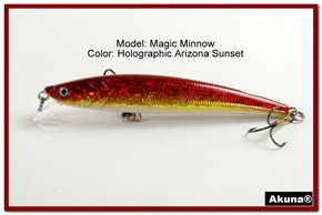 "Akuna Magic Minnow 4.3"" Topwater Fishing Lure in color AZ Sunset [BP 34-84]"