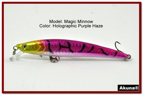 "Akuna Magic Minnow 4.3"" Topwater Fishing Lure in color Purple Haze [BP 34-87]"