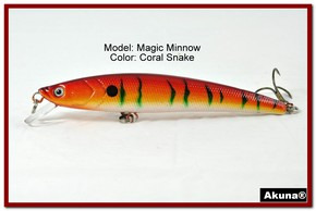 "Akuna Magic Minnow 4.3"" Topwater Fishing Lure in color Coral Snake [BP 34-93]"