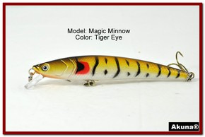 "Akuna Magic Minnow 4.3"" Topwater Fishing Lure in color Tiger Eye [BP 34-94]"