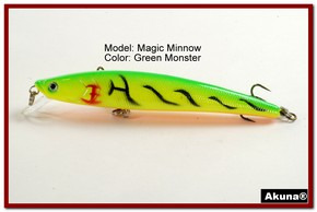 "Akuna Magic Minnow 4.3"" Topwater Fishing Lure in color Green Monster [BP 34-98]"