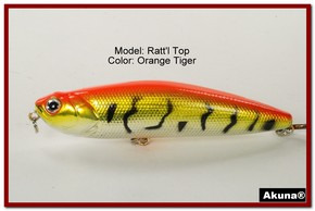 "Akuna Ratt'l Top 4"" Topwater Fishing Lure in color ""Orange Tiger"" [BP 45-78]"