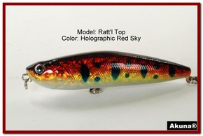 "Akuna Ratt'l Top 4"" Topwater Fishing Lure in color ""Holographic Red Sky"" [BP 45-81]"