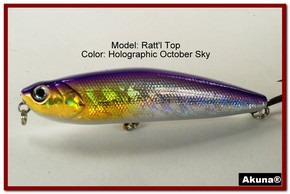 "Akuna Ratt'l Top 4"" Topwater Fishing Lure in color ""Holographic October Sky"" [BP 45-82]"