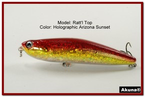 "Akuna Ratt'l Top 4"" Topwater Fishing Lure in color ""Holographic Blaze"" [BP 45-84]"