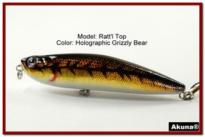 "Akuna Ratt'l Top 4"" Topwater Fishing Lure in color ""Holographic Grizzly Bear"" [BP 45-88]"