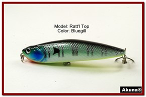 "Akuna Ratt'l Top 4"" Topwater Fishing Lure in color ""Bluegill"" [BP 45-97]"