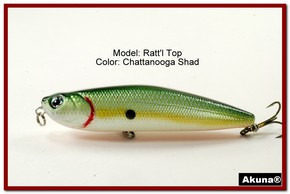 "Akuna Ratt'l Top 4"" Topwater Fishing Lure in color ""Chattanooga Shad"" [BP 45-99]"