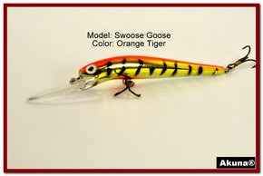 "Akuna Swoose Goose Medium Diving 4.7"" Fishing Lure in color ""Orange Tiger"" [BP 47-78]"